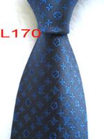 оранжевая синяя полоса мужская галстук оптовых-L170 # 100% Шелковый жаккардовый плетеный мужской галстук ручной работы