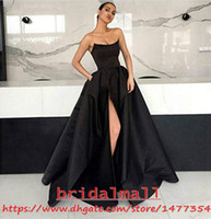 ingrosso vestito nero da promenade senza bretelle nero-Senza spalline 2019 Black Satin Abiti da ballo sexy High Leg Split Abiti da sera formale Piano Lunghezza Cocktail Party Dress Vestido de fiesta