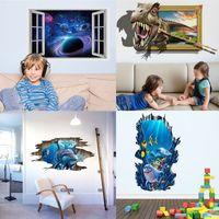 haifisch aufkleber großhandel-Wandaufkleber des Haifisch 3D Delphin PVC-Wandpapierdekorationhimmelwandaufkleber Wohnzimmer Fernsehtapeten-Hintergrunddekor