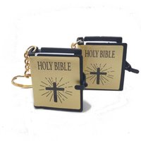 Wholesale holy ring resale online - New Styles Colors Holy Bible Mini Keychains English Book Keyring Religious Christian Keychain Pendant Jesus Cross Key Ring Gift M460A