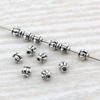 silber perlen schmuck großhandel-Heißer Verkauf! 500 Teile / lose Antike silber zink-legierung laterne Spacer Perle 4mm DIY Schmuck für perlen armbänder