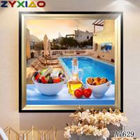 ingrosso arredamento piscina-ZYXIAO Pittura a Olio di Grandi Dimensioni Pop Piscina Castello di frutta Home Decor su Tela Modern Wall Art Senza Cornice Stampa Poster foto A7629