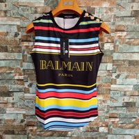 Wholesale tiered clothing resale online - Balmain Womens Designer T Shirt Women Clothes Rainbow Short Sleeve Balmain Womens Tanks Tees Size S L
