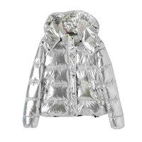 bayanlar kış parkaları satışı toptan satış-2019 Sıcak Satış Kadın Palto Moda Gümüş Kapşonlu Parkas Kadın Kış Ceket Kadın Big yastıklı Pamuk Parkas V191029 Cepler