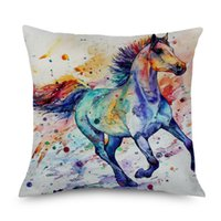 Wholesale animal galloping online - Watercolor Painting Horse Animal Cushion Cover Thick Cotton Linen Colorful Galloping Horse Home Decorative Pillows Cover for Sofa