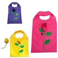 Wholesale folding shopping bag polyester online - Creative rose polyester folding storage bag can print LOLG environmental protection fashion shopping bag gift bag T2I5014