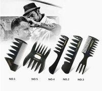 große plastikpferde großhandel-Barber Oil Kopf Kamm Männer CestoMen Griff Grip Large Tooth Detangling lockiges Haar Kamm Bart Friseur breite Zähne Kamm Set
