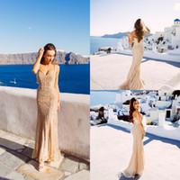 zarif boncuklu balo elbisesi toptan satış-Gerçek Görüntüler Şampanya Arapça Abiye 2020 Zarif V Yaka Kolsuz Seksi Örgün Kristal Boncuk Parti Uzun Gelinlik Modelleri Kadın için