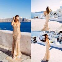 arabische mode kleider für frauen großhandel-Real Images Champagne Arabisch Abendkleider 2020 Eleganter V-Ausschnitt Ärmellos Sexy Formale Kristall Perlen Party Lange Abendkleider für Frau
