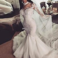 Wholesale high collar maternity wedding dresses for sale - Group buy High Neck Long Sleeves Beaded Wedding Dresses Bridal Gowns Lace Appliques Pearls Tulle Skirt Maternity Pregnant Dresses