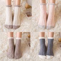 Wholesale sleeping feet socks resale online - Women Cashmere Socks Lovely Plush Keep Warm Sleep Home Floor Ladies Funny Socks Coral Fluffy Feet Warmer Sokken