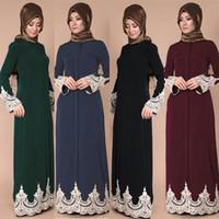 ближневосточная одежда оптовых-Muslim Dress Middle Eastern Turkish Fashion Tunic Full Buckle Lace Clothing Robes Muslim Elegant Long Dress robe islamique femme