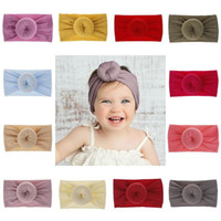 Wholesale super knot resale online - Baby Nylon Head bands Solid Color Turban Super Soft Ball Knot Hair band Headband Headwraps Toddler Hair Accessory
