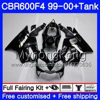 f4 preto venda por atacado-Corpo Brilhante preto cheio + Tanque Para HONDA CBR600 F4 CBR 600 F4 FS CBR600 F4 287HM.1 CBR600F4 99 00 CBR600FS CBR 600F4 1999 2000 Kit de carenagens