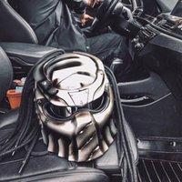 siyah moto kask toptan satış-Predator Motosiklet Kask Tam Yüz Demir Savaşçı Adam Kask NOKTA Emniyet Moto Belgelendirme Yüksek Kalite Siyah Renkli Karbon Fiber Demir Adam