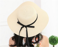 Wholesale wide brimmed golf hats women for sale - Group buy Sun Hat Straw Cap Women Summer Beach Shadeable Wide Brim Foldable Bow Large Floppy Colors Mix xc F1