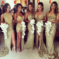 Wholesale wedding dress olive color for sale - Plus Size Sparkly Bling Gold Sequined Mermaid Bridesmaid Dresses CHEAP Backless Slit Plus Size Maid Of The Honor Gowns Wedding Dress