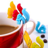 ingrosso borsa scoiattolo-Carino Forma lumaca Squirrel Holder bustina di tè del silicone della tazza della tazza di tè Candy Bag clip colori Set regalo Buono Tè Strumenti Tea Infuser I546
