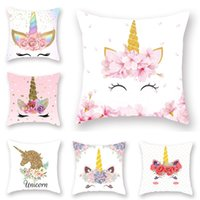 Wholesale red couches resale online - New Unicorn Printed Casual Cushion Cover Square Polyester Home Decor Pillow Case Couch Chair Rest Pillow Case