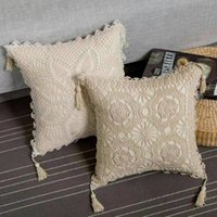ingrosso fare il crochet della mano-Village Square a mano made maglia della nappa Federa Cuscino 45 Cm Grande modo della decorazione della casa bianco avorio ricamato