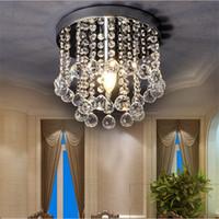 luz ámbar del techo al por mayor-Mini lámpara de araña de cristal Luminaria pequeña transparente / ámbar K9 Lámpara de brillo de cristal Lámpara de techo para Pasillo Escalera Pasillo pasillo porche 110V 220V