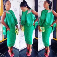 grünes spitzeteekleid großhandel-Tee Länge grüne Spitze Cocktailkleider 2020 afrikanischen Juwel Hals ärmellose Mini Short Prom Kleider Homecoming Club Kleid Vestidos