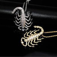 Wholesale gold scorpion pendant necklace for sale - Group buy 14K gold iced out animal Scorpion Pendant Necklace bling bling hip hop necklace for men women gifts
