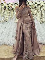 ingrosso abiti da sera arabi per le donne-Abiti da sera a maniche lunghe arabi modesti Abito da ballo 2019 Abito da festa elegante da donna Plus Size Gala formale