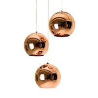pendentif argent cuivre achat en gros de-Pendentif en verre moderne lumière restaurant à la maison Espace de la mode Plaqué argent or cuivre Lampe suspension en verre boule