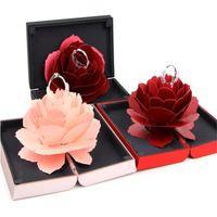 çiçek gül nişan yüzüğü toptan satış-Romantik Gül Çiçek Yüzük Tutucu Kutusu Benzersiz Pop Up Gül Düğün Nişan Yüzük Kutusu Durumda Sürpriz Takı Depolama Tutucu Ekran kutu