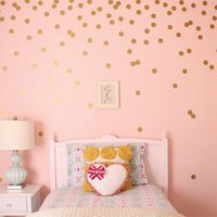 Wholesale tiles wall art resale online - Removable Dots Round Circle Art Mural DIY Wall Children bedroom Stickers Home Decoration Gold Black Pink Gray White Stickers