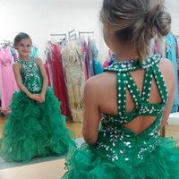 grüne paillettenröcke für mädchen großhandel-Süße grüne Mädchen Festzug Kleider Glizta Cupcake Kleider Pailletten Perlen Puffy Rock Kleinkind Kid Prom Party Kleider nach Maß