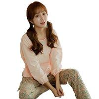 mulheres conjuntos de pijama de inverno venda por atacado-Novo 2018 Outono Inverno Mulheres Pijama Set O Pescoço Mulheres de Manga Longa Pijamas Pijamas Pastorais Mulher Floral Pijama Femme Pijamas
