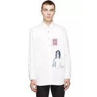 casacos de denim manga longa venda por atacado-RAF SIMMONS jaqueta jeans Retrato Graffiti camisa de manga comprida pelagem branca Jackets Moda homens mulheres casal Rua Casual Hip Hop HFHLJK046