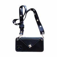 kordon parçaları toptan satış-iphone 6p 7 8plus XS XR 11 11promax moda kamelya cüzdan Tasarımcı telefon kılıfı için One Piece Telefon Kılıfı geri Lanyard ile kapatın
