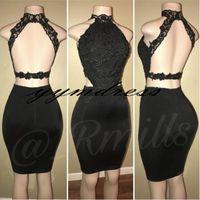 черные короткие узкие платья v оптовых-Черное короткое платье для коктейля Арабские вечерние платья с кружевным вырезом и выпускным платьем на заказ vestidos de фиеста