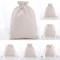 Wholesale party clothing shipping for sale - Group buy Linen Drawstring Pouch Bags Reusable Shopping Bag Party Candy Favor Sack Cotton Gift Packaging Storage Bags WX9
