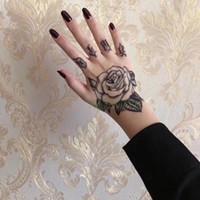 etiqueta da mão dos homens venda por atacado-10 pçs / lote À Prova D 'Água Tatuagem Temporária Etiqueta Flor Rosa Falso Tatto Flash Tatoo Mão Bra Pé Para Trás Tato Body Art para Menina Mulheres homens