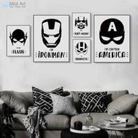 черные супергерои оптовых-ге фотографии черно-белых Superhero Мстители маска Плакаты Бэтмен Кино Печать Nordic Boy Детская комната Декор стена искусство Картина Canvas Paint ...