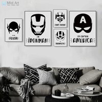 vingadores pôsteres venda por atacado-Oster imprimir Preto e Branco Superhero Vingadores Máscara Batman Movie Posters Prints Nordic Menino Crianças Room Decor Wall Art Pictures Canvas ...