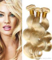 tissage de la marque péruvienne achat en gros de-Elibess Brand - Armure de Cheveux Humains Péruvienne Straight Body Wave 3 Bundles 613 Bundles de cheveux blonds