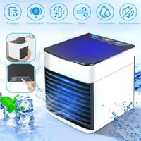 ledli soğutma fanları toptan satış-USB Mini Taşınabilir Klima Arctic Hava Soğutucu Nemlendirici Arıtma 7 Renkler LED Işık Kişisel Uzay Fanı Hava Soğutma Fanı araba