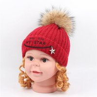 Wholesale cap fur ball top for sale - Group buy Kids Beanies Hats Baby Boys Girls Wool Knitted Hat Real Raccoon Fur Pompom Ball Caps Children Hats Warm Fleece Lined Knit Beanie Cap