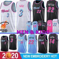 camisolas de basquete mais quentes venda por atacado-3 Dwyane Wade Miami Heat Homens Crianças College Basketball Jerseys 22 Jimmy Butler 14 Tyler Herro 25 Kendrick Nunn 7 Goran Dragic 2019 2020 New Jerseys