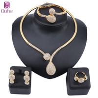 Dubai Crystal Jewelry Sets Classic Water Drop Shape Necklace Bracelet Earrings Ring for Women Wedding Bride Jewelry Set