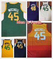 camisetas de baloncesto azul niños al por mayor-Niños Juvenil Hombres Donovan Mitchell camisetas de baloncesto 2019 Nuevo Verde Naranja Azul Blanco Amarillo Donovan 45 Mitchell Jersey camisa cosida Niños