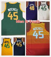 portakal boys gömlek toptan satış-Çocuklar Gençlik Erkek Donovan Mitchell Basketbol Formaları 2019 Yeni Yeşil Turuncu Mavi Beyaz Sarı Donovan 45 Mitchell Jersey Dikişli Gömlek Boys
