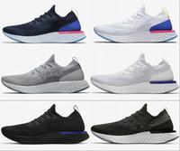 mens yaz ayakkabıları spor ayakkabıları toptan satış-Sıcak Epik Mens Üçlü Siyah Beyaz Oreo Mavi Kaliteleri yüksek womens Ayakkabı Koşu React Yeni Yaz İlkbahar açık Spor Spor ayakkabılar ABD 5-11
