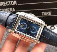 mondgesichtige uhren großhandel-automatische mechanische Uhr Edelstahl LuxuxMens Designer-Uhren blau Gesicht Mond Satz Echtlederband Bewegung Armbanduhr