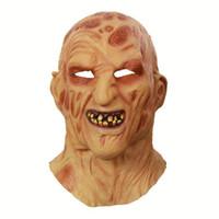 fantezi elbiseler maskeleri toptan satış-Cosplay Freddy Krueger Maske Cadılar Bayramı Partisi Maskesi Yetişkin Korkunç Korku Kostüm Fantezi Elbise Korkunç Maske Cadılar Bayramı Noel
